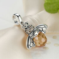 New Authentic 925 Sterling Silver Yellow Crystal CZ Honey Bee Charm Pendant