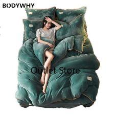 Thick Velvet Fleece Bedding Set 4pcs Korean Duvet Cover Flat Pillowcase Flannel