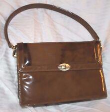 Vintage 1960s Women's Palizzio Brown Faux Patent Leather Shoulder Purse