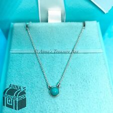 "Tiffany & Co. 925 Silver Peretti Cabochon Turquoise By The Yard 16"" Necklace"