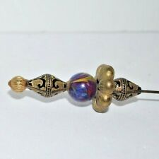 "Beautiful And Stylish Hat Pin -6"" Long -Black / Gold Designs & Marble Sphere"