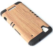 For ZTE Boost Max N9520 - HARD&SOFT RUBBER HYBRID ARMOR SKIN CASE BROWN WOOD OAK