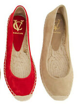 VINCE CAMUTO SIGNATURE WOMEN BELLA RED SUEDE FLAT ESPADRILLE SHOES S 9 NEW