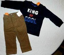 Pant Set Gymboree Khaki Corduroy Navy Tshirt Fall Winter Boy 18-24 month New