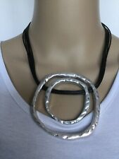 Lagenlook Circle Statement Pendant Necklace on Black Leather