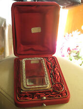 Gorgeous antique solid silver carnet de bal with mirror and pen