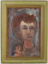 A 1950's 60's 70's portrait painting. Redhead Signed & framed Oil on board