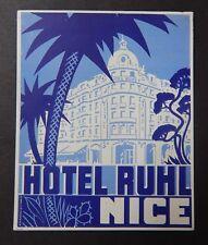 Ruhl Nice Hotel Luggage Label c.1920's Bind2#52
