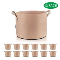 3 5 7 10 15 20 25 65 Gallon 3/6/12/24-Pack Fabric Grow Pots Bags Container Tan