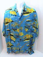 Men's Blue Shirt Hawaiian Style Sz XL Palm Trees Island Daytona Miami