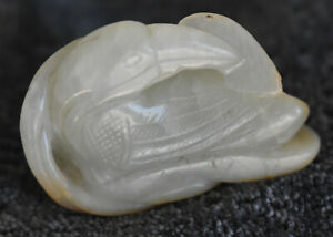 Fine Antique Qing Dynasty China Natural White Hetian Jade Bird Statue