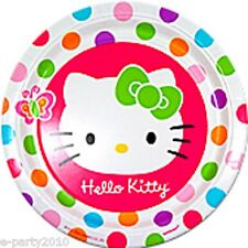 HELLO KITTY Rainbow Stripes LARGE PAPER PLATES (8) ~ Birthday Party Supplies