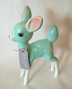 "NEW 9.5"" AQUA BLUE Spotted Deer Reindeer Figurine Xmas Glitter Vintage Style"