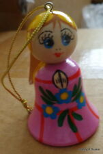 """ornament Russian hand carved&painted wood  angel w/wings.2.2 """"  pink"""