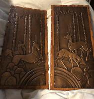 Copper Reindeer Plaque In Carved Frame