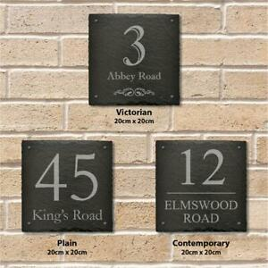 Large 20cm Square Slate Personalised Door Number House Name Plaque Gate Sign
