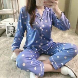 Ladies Women Pyjamas Set Long Sleeve Night wear Lounge Wear Pajamas Pjs Sleep D3