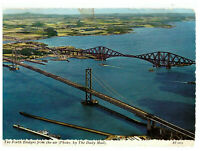 The Forth Bridges From the Air, Rail and Road Bridge Scotland Rare Postcard