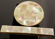 Mother of Pearl Compact Set Has Matching Comb That Slides Out Gold Tone Metal