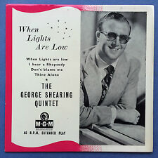 The George Shearing Quintet - When Lights Are Low - 4 Track EP - MGM EP-563 Ex