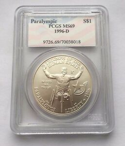 1996-D PCGS MS69 PARALYMPIC WHEELCHAIR RACER SILVER DOLLAR COIN