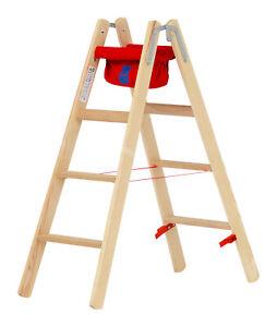 Hymer Holz Stufenstehleiter 4 Stufen Leiter Stehleiter klappbare Malerleiter