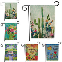 Floral Welcome Garden Flag Double Sided Burlap Banner Outdoor Home Yard Decor