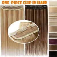 One Piece Clip In 3/4 Full Head 110g Remy Human Hair Extensions Ombre Highlight