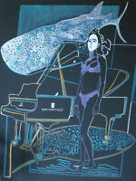 "Mermaid and Whale with Piano in Ocean: oil painting on canvas. (48"" x 36"")"