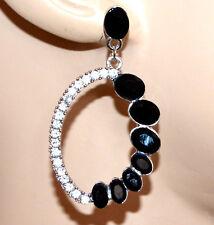 ORECCHINI argento strass donna cristalli neri pendenti earrings kolczyki G32