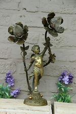 Antique ARt nouveau French lamp bronze putti 2 arms