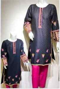 Designer women winter pakistani indian mother daughter kurta kurti top tunic