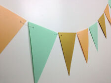 peach gold mint flag bunting party shower wedding decoration