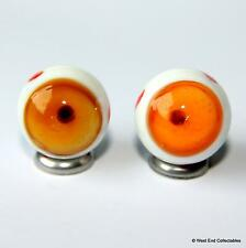 2 x 20mm Brown Eye Ball Glass Marbles & Stands - Handmade Collectors Art Marble