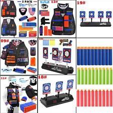 Kids Tactical Vest Kit +Refill Darts+Electronic Target for Nerf N-Strike Elite