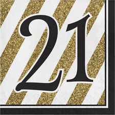 BLACK AND GOLD 21ST LARGE NAPKINS SERVIETTES PACK OF 16 BIRTHDAY PARTY SUPPLIES