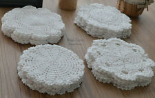 Lot 48 Hand Crochet Round Doilies Floral Coasters White Snowflake Wedding