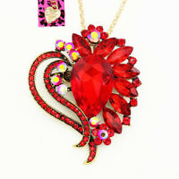 Betsey Johnson Big Crystal Flower Heart Pendant Chain Necklace/Brooch Pin Gift