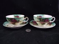 PAIR GREEN FLORAL ROSES FOOTED  WITH GOLD  JAPAN CABINET TEA CUP AND SAUCER
