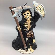 Blue Sky Skeleton Grim Reaper Tealight T-Lite Candle Holder Melting Clock NEW