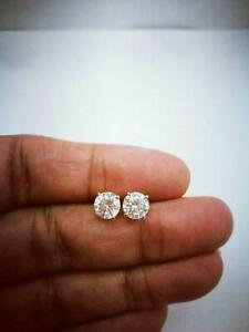 2Ct Round Cut VVS1 Diamond Classic Solitaire Stud Earrings 14K White Gold Over