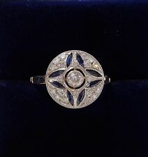 French Antique Art Deco Sapphire and Diamond Cluster Ring in 18ct Yellow Gold