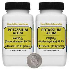 Potassium Alum [KAl(SO4)2] 99.7% ACS Grade Powder 8 Oz in Two Bottles USA