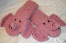 KNIT ELEPHANT MITTENS w/ Trunk LINED pink ADULT animal costume HAT SEPARATE