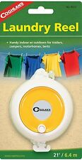 Laundry Reel, 21 Feet Nylon Clothes Reel W/Brass Hooks, Retractable Clothes Line