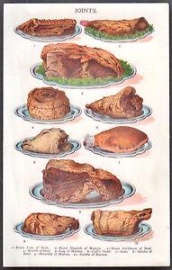 "1920's vintage FOOD - MEAT ""JOINTS"" original early off-set print"