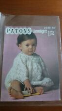 Vintage Patons Limelight 2229 Knitting Pattern Baby Dress 20""