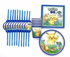 Pokemon Pikachu Birthday Tableware Set Plates Napkins Straws Cups x10
