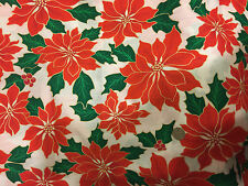"Gold Accented Red Poinsettia White Christmas Quilting Fabric 26"" x60"""