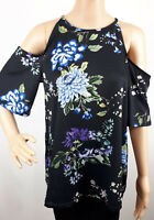 Ex Dorothy Perkins Ladies BLACK Floral Print Cold Shoulder Top Size 6 - 20